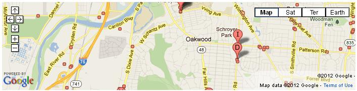 Oakwood Ohio Restaurants Map and Directions